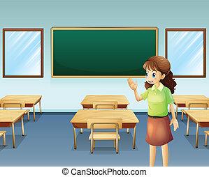 classe, intérieur, prof, vide