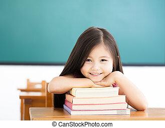 classe, peu, livres, girl, heureux