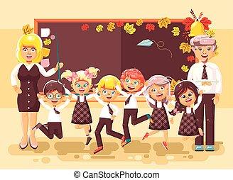 classe, plat, style, élèves, séance, manuels, étudier, apprentis, fond, dos, illustration, dessin animé, école, vecteur, écolières, caractères, tableau noir, profs, agrafe, écolier