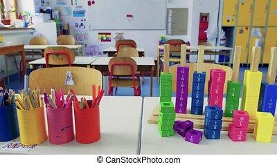 classe, school., appui verticaux, bureau