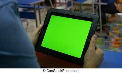 classe, tablette, écran, pc, vert, tenue, homme