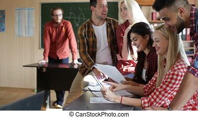 classe, tablette, séance, étudiants, université, informatique, bureau, utilisation