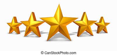 classement, étoile, or, doré, cinq, étoiles