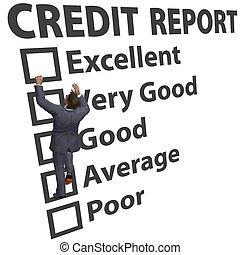 classement, business, haut, crédit, partition, construire, homme