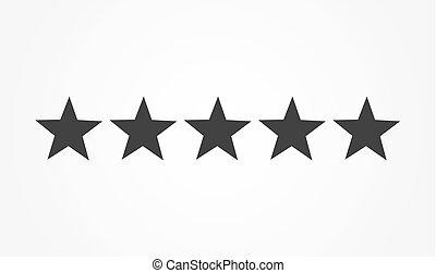 classement, cinq, étoiles, icône