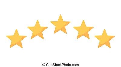 classement, cinq, jaune, étoiles