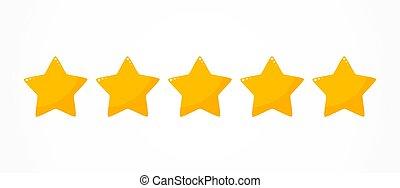 classement, cinq, qualité, étoiles, icône