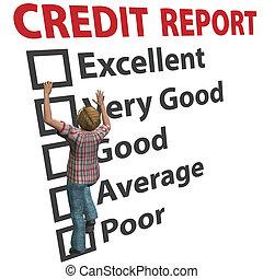 classement, femme, constructions, haut, crédit, partition, rapport