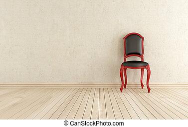 classici, contre, noir, mur, chaise, rouges