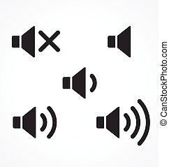 classique, ensemble, orateur, icône, illustration, simple, vecteur, audio