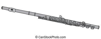 classique, flûte, métal