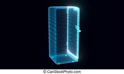 classique, hologramme, frigidaire, tourner