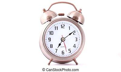 classique, horloge, reveil, métal, vue frontale