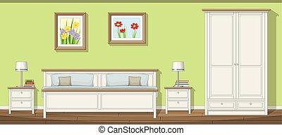 classique, illustration, chambre à coucher