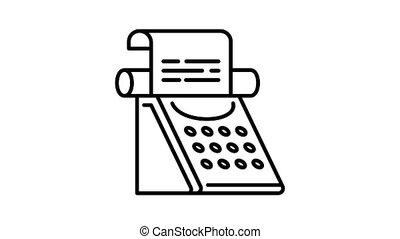 classique, machine écrire, animation, icône