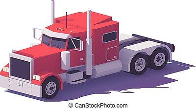 classique, poly, américain, vecteur, camion, bas