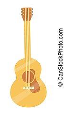 classique, solide, lumière, accordé, guitare, bois, acoustique