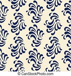 classique, vagues, modèle, bleu, couleur, océan, seamless