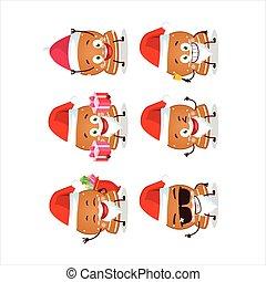 claus, biscuits, santa, emoticons, caractère, dessin animé, boule de neige