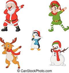 claus, bonhomme de neige, elfe, danse, renne, dessin animé, santa, noël, manchots