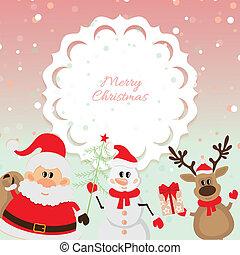 claus, bonhomme de neige, renne, santa, p