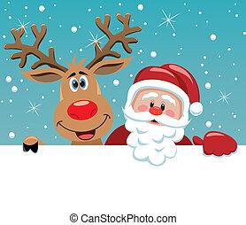 claus, cerf, rudolph, santa