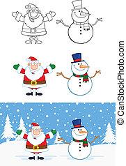 claus, collection, bonhomme de neige, santa