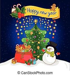 claus, salutation, santa, année, nouveau, carte, heureux