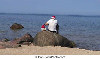 claus, santa, rocher, front mer, assied, chapeau, homme