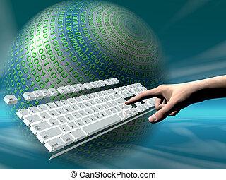 clavier, accès, internet