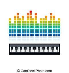 clavier, compensateur, piano, vecteur, illustration