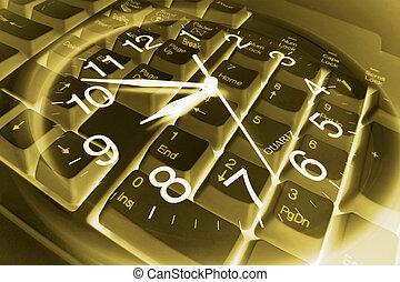 clavier, composite, informatique, horloge