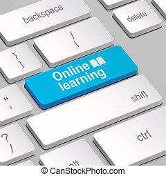 clavier, concept, informatique, apprentissage, ligne