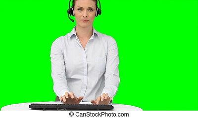 clavier, elle, dactylographie, casque à écouteurs, femme