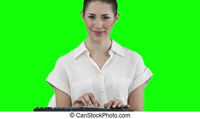 clavier, fonctionnement, virtuel, femme affaires