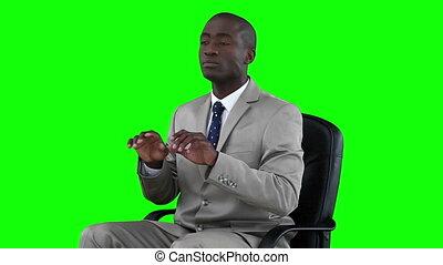 clavier, fonctionnement, virtuel, homme affaires