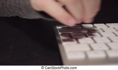 clavier, mains, movie., brouillé, dactylographie, blanc