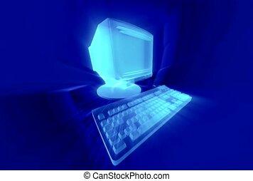 clavier, moniteur, blue.