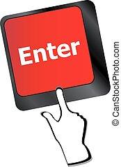 clavier, soutien, entrer, vecteur, ligne, clã©, message, concepts.