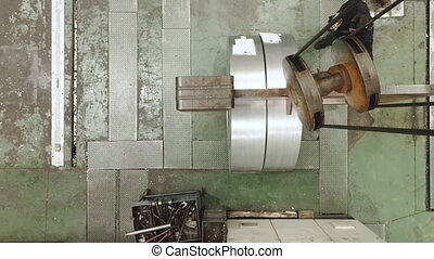 claw., aérien, bobine, opérateur, levage, industrie, vue, acier, métal, concept., grue