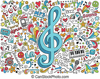 clef, musique, doodles, notes, groovy
