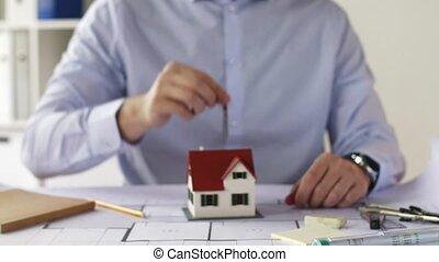 clefs bureau, maison, haut, architecte, fin