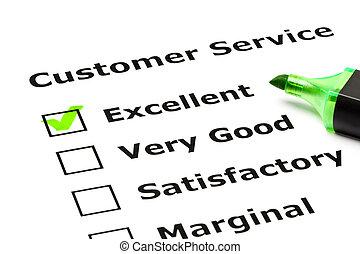 client, évaluation, service, formulaire