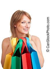 client, achats, heureux, après, jeune