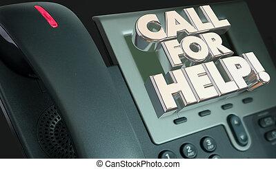 client, aide, service, assistance, illustration, appel téléphonique, 3d