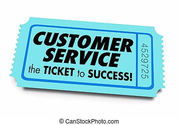 client, bon service, reussite, soutien, affaires illustration, billet, 3d