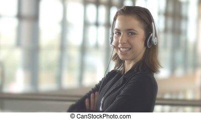 client, casque à écouteurs, affaires femme, service, centre, soutien, appeler, opérateur