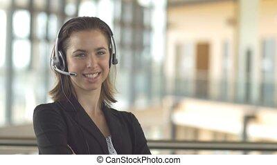 client, casque à écouteurs, affaires femme, service, centre, soutien, appeler, secrétaire