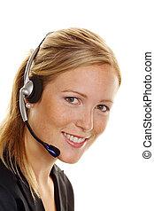 client, casque à écouteurs, femme, service., acceptation, téléphone, hotline, ordre