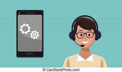 client, centre, service, animation, appeler, hd